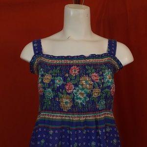 Vintage Dresses - VINTAGE 70s Blue Floral Spaghetti Strap Mini